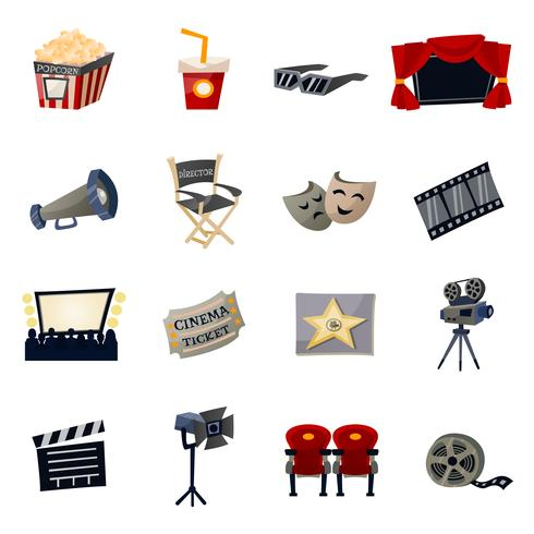 Icônes de cinéma plat vecteur