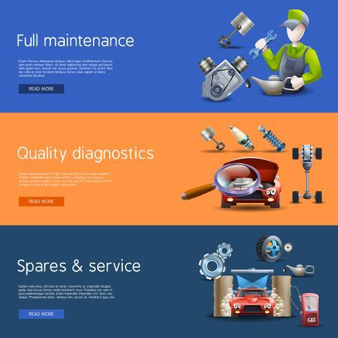 Conjunto de Banners de dibujos animados de reparación de automóviles vector