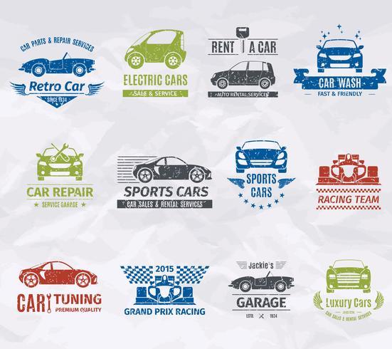 Sellos del logotipo del coche vector