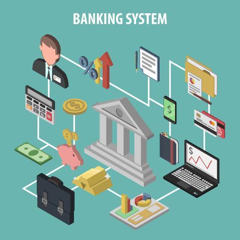 Concepto de banco isométrico