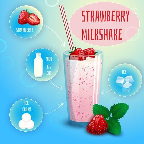 Strawberry smoothie milkshake recipe poster print vector