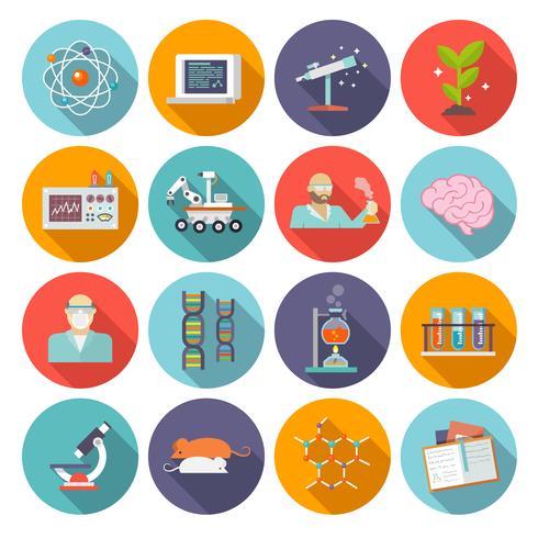 Icono de la ciencia y la investigación plana vector