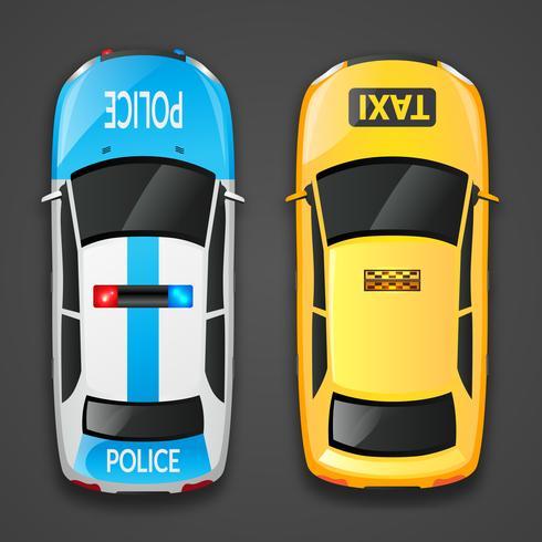 Carros de polícia e táxi