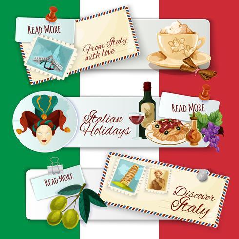 Itália Banners Turisticos vetor