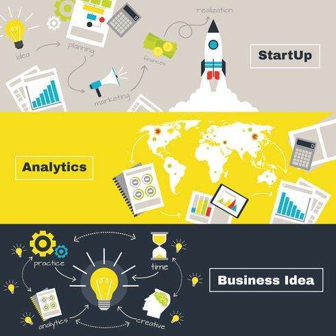 Banners horizontais de conceito de projeto de negócios