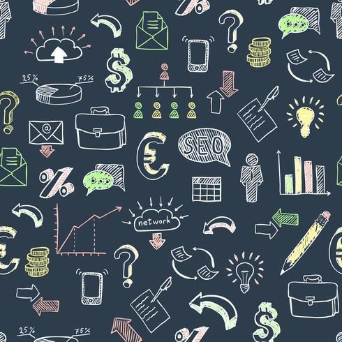 Patrón de doodle de negocios negro