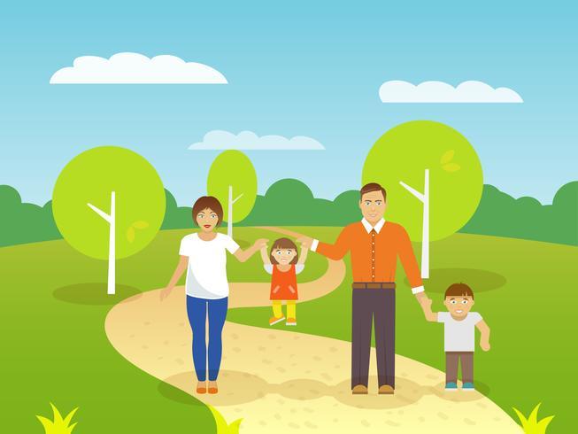 Ilustración de familia al aire libre vector