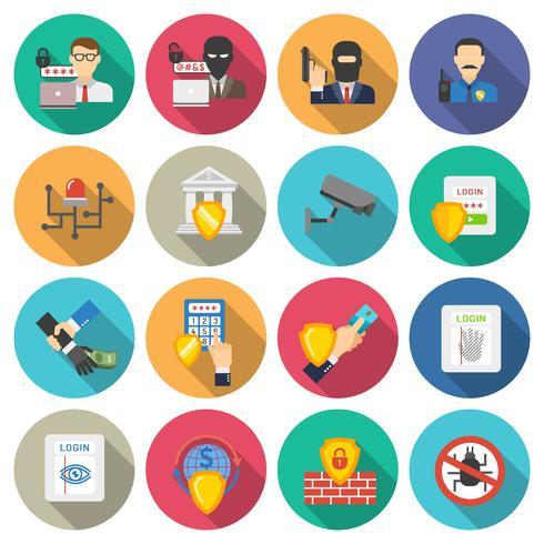 Conjunto de ícones plana de segurança do banco