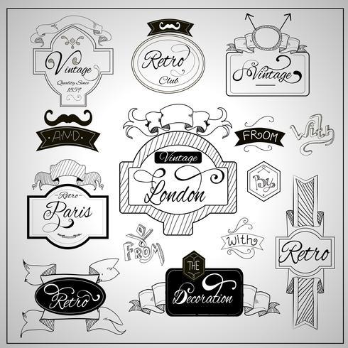 Elementos de slogans design retro no quadro