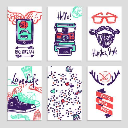 Hipster schets banner set