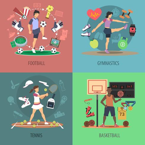 Sport Människor Design Concept Set