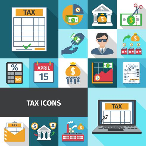 Tax Flat Icon Set vector