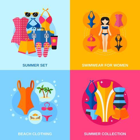 Conjunto de iconos decorativos de trajes de baño