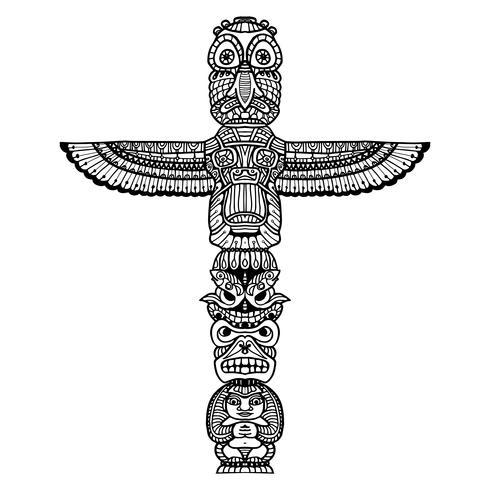 Doodle totem illustratie
