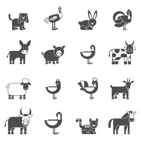 Domestic Animals Icons Set vector