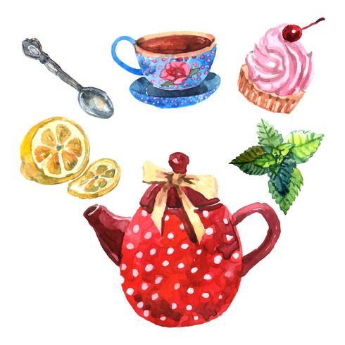 Service à thé aquarelle