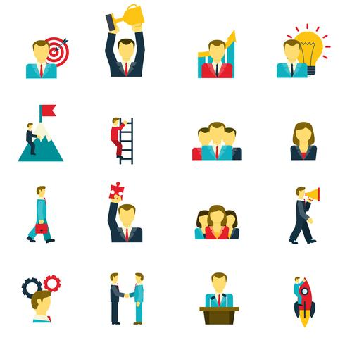 Leadership icons set  vector