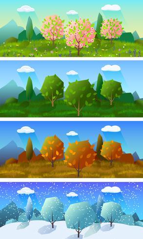 Conjunto de banners de paisaje de cuatro estaciones.