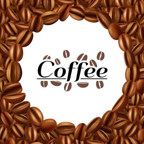 Chicchi di caffè cornice rotonda sfondo stampa
