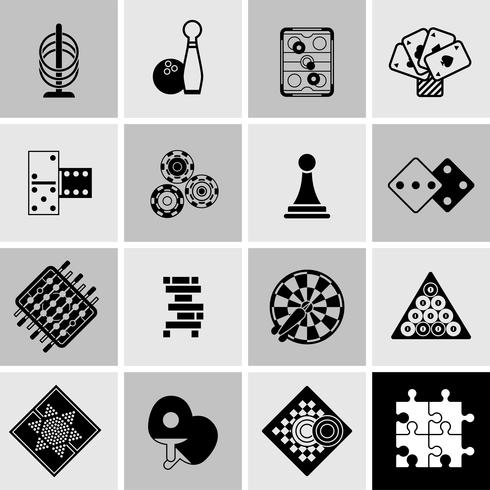 Games Black Icons Set vector