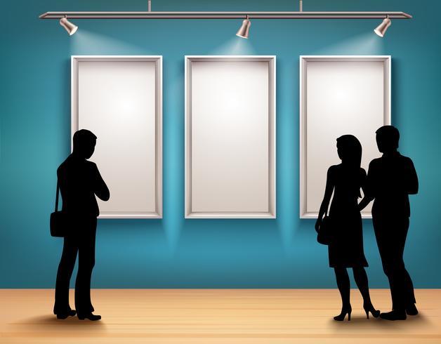 Mensen silhouetten in galerij vector
