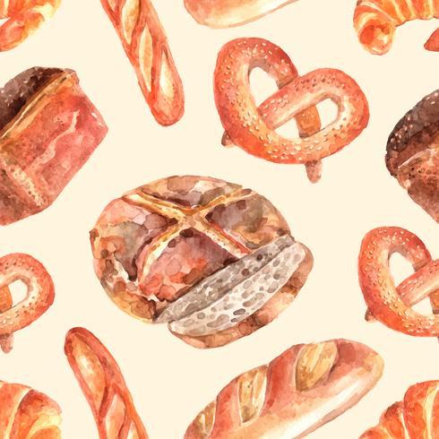 Pão fresco sem costura padrão decorativo vetor