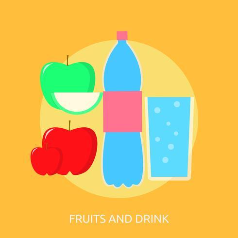 Progettazione dell'illustrazione concettuale della bevanda e della frutta