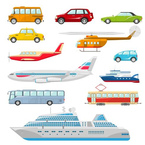 Iconos de transporte plano vector