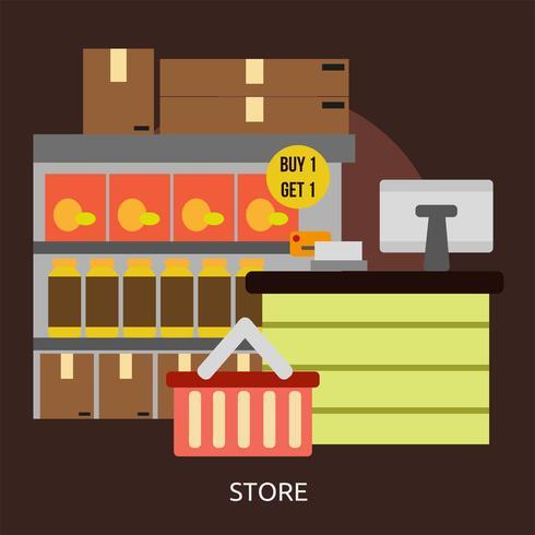 Tienda Conceptual Ilustración Diseño vector
