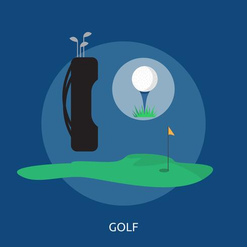 Projeto conceptual da ilustração do golfe e do equipamento