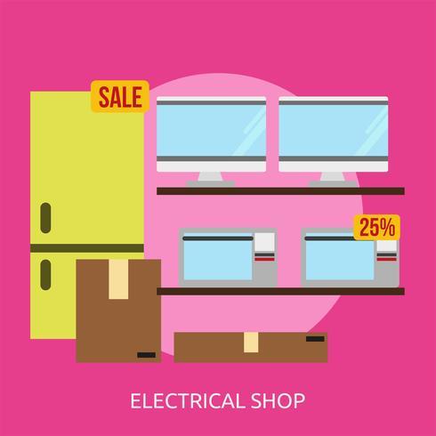 Tienda Eléctrica Conceptual Ilustración Diseño vector