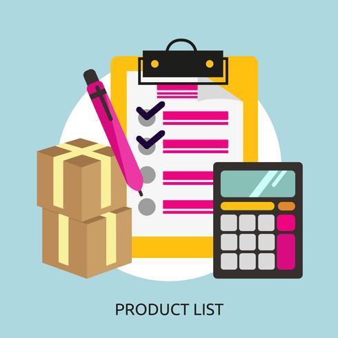 Disegno dell'illustrazione concettuale dell'elenco di prodotti