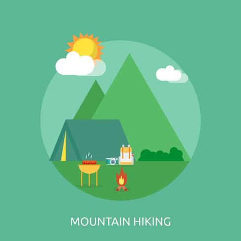 Mountain Hiking Conceptual illustration Design