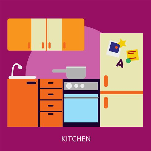 Cocina Conceptual Ilustración Diseño vector