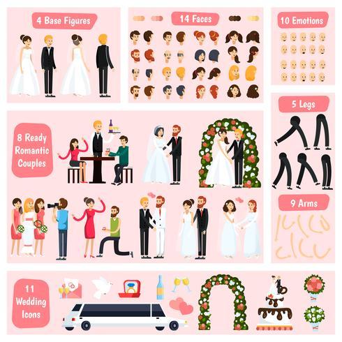 Construtor de personagem ortogonal de pessoas de casamento