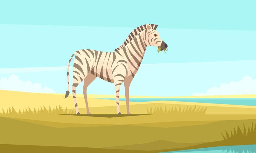 Zebra na composição selvagem vetor