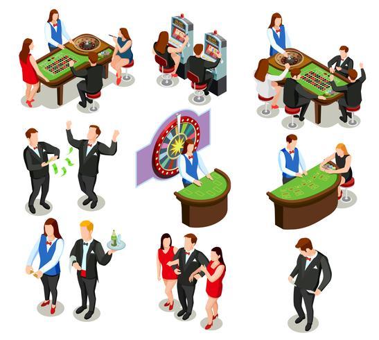 Iconos decorativos isométricos de casino
