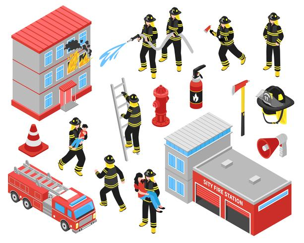 Fire Department Isometric Icons Set