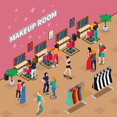Sala de maquillaje industria de la moda ilustración isométrica vector