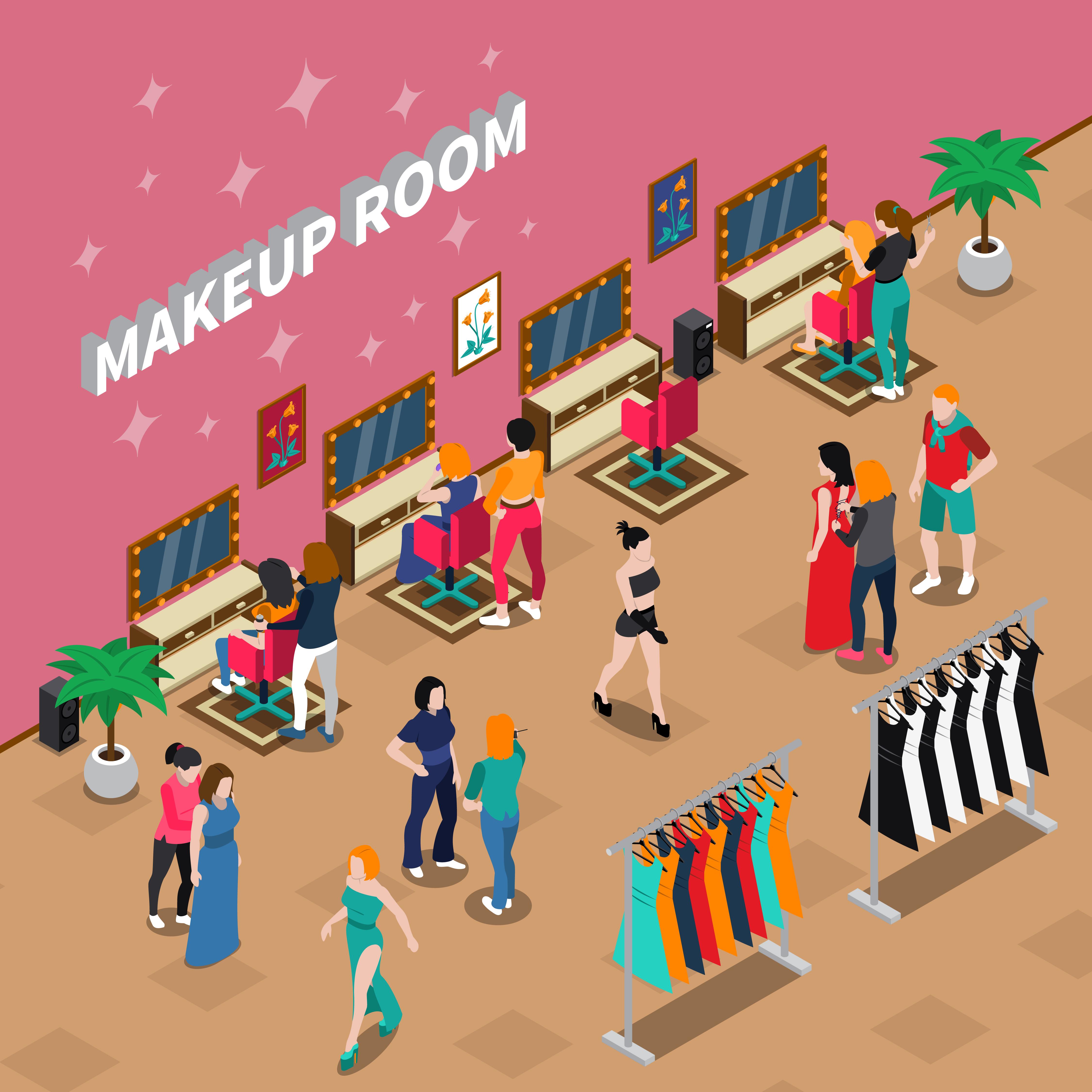 Makeup Room Fashion Industry Isometric Illustration
