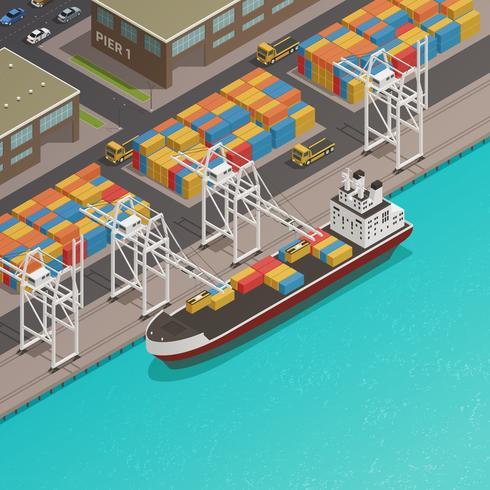 Embarcaciones de carga puerto muelle isométrico vector