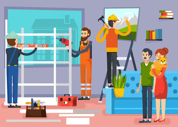Construction Workers Flat Composition Poster