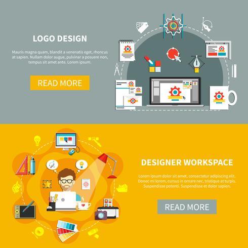Conjunto de Banner de ferramentas de designer