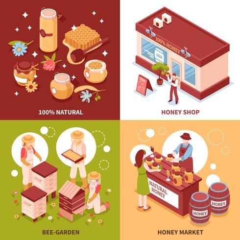 Honey Production 4 Isometric Icons