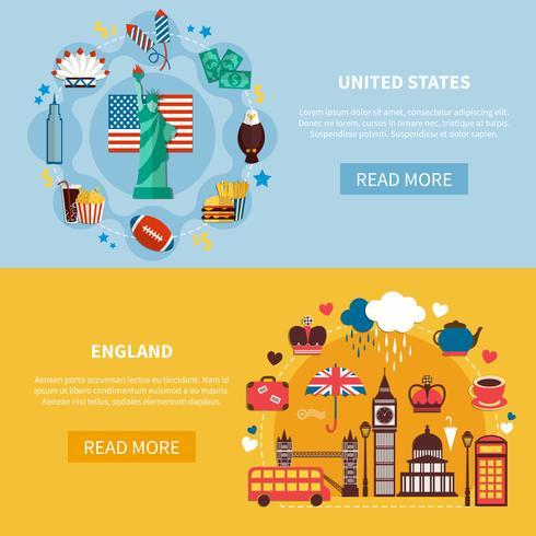 Inglaterra y Estados Unidos Banners horizontales vector