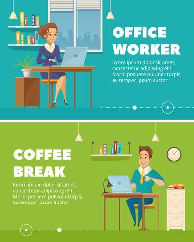 Personagens de trabalhador de escritório Cartoon Banners