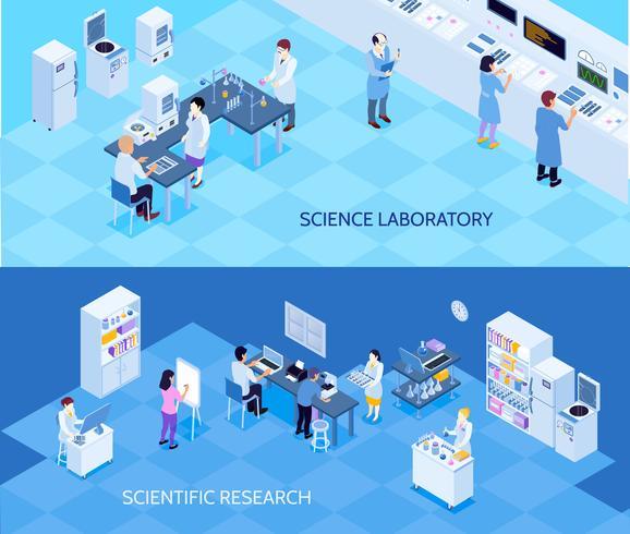 Banners isométricos de laboratório de ciência