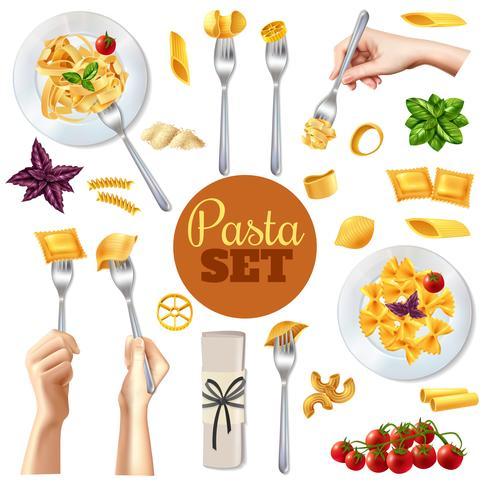 Pasta Realista Set vector