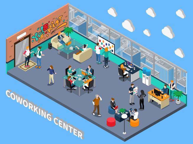 Interior isométrico del centro de coworking