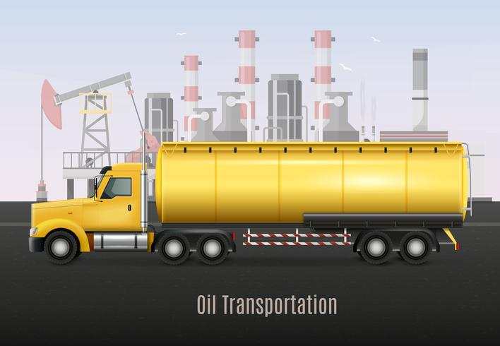 Olie vervoer gele vrachtwagen realistische samenstelling vector